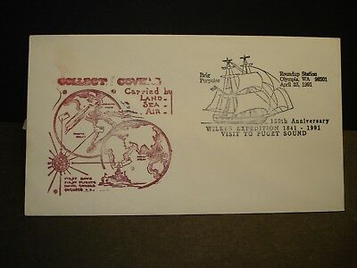 Sailing Brig PORPOISE, WILKES EXPEDITION Naval Cover 1991 Cachet OLYMPIA, Wash
