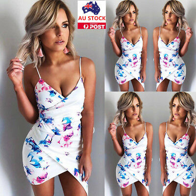 Women Summer V Neck Floral Bodycon Backless Beach Evening Party Sling Mini Dress