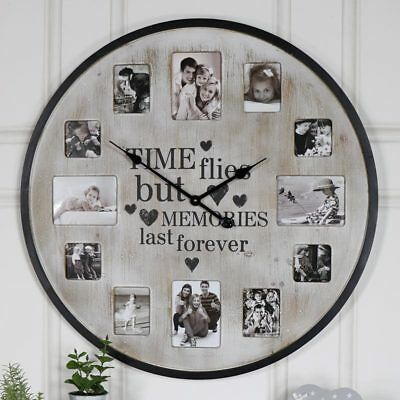 Extra large rustic cream wall clock with photograph frame family photo display
