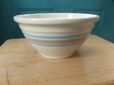 Vintage Oven Ware #10 USA Marked Art Pottery Mixing Bowl with Pink Blue Stripes