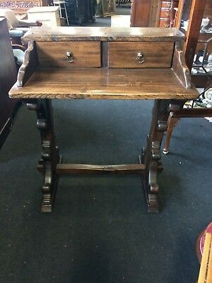 Vintage Wooden Art Deco Writing Desk With 2 Drawers