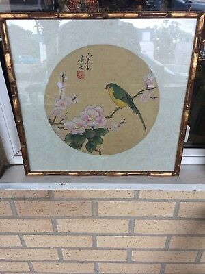 Antique / Vintage Chinese Water Colour Picture Bird In A Blossom Tree Signed