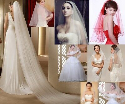 Romantic Single/Double Layer Bridal Wedding Veil/Mantilla Long Cathedral Comb