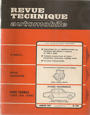 Revue Technique Automobile 249 Rta 1967 Ford Taunus 17M 20M 20Mts Peugeot 404 Es