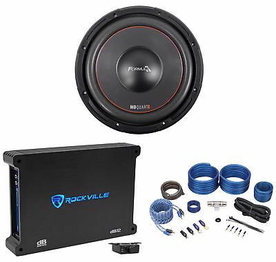 "MB QUART FW1-304 12"" 1200 Watt Car Audio DVC Subwoofer+Mono Amplifier+Amp Kit"
