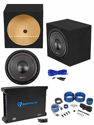 "MB QUART FW1-304 12"" 1200 Watt Subwoofer+Sealed Sub Box+Mono Amplifier+Amp Kit"