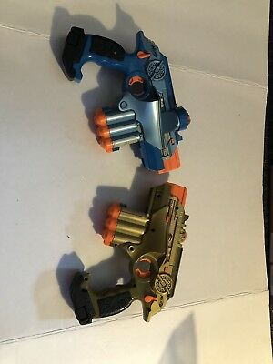 Nerf Phoenix LTX Lazer Tag Lot of Two Not Working for Parts Only Gold & Blue