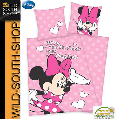 Minnie Mouse Maus Bettwäsche 80x80 135x200cm 100% Baumwolle Renforce Herding