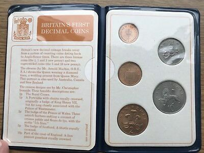 1968 - 1971 Britain's First Decimal Coins In Plastic Wallet, Coin Set of 5
