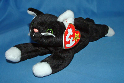 Ty Beanie Baby Zip - MWMT (Cat White Paws 1994)