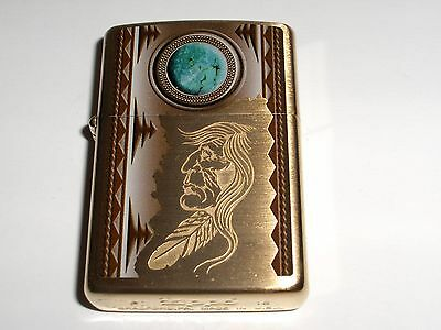 Zippo Indian and Turquoise Moon Brushed Brass Lighter