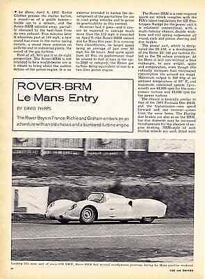 1963 ROVER-BRM / Le MANS ENTRY  ~  NICE ORIGINAL 2-PAGE ARTICLE / AD