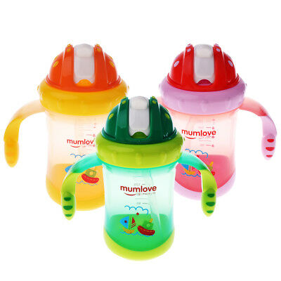 Baby Feeding Bottle Straw Cup Character Drinking Bottle Sippy Cups With Handles