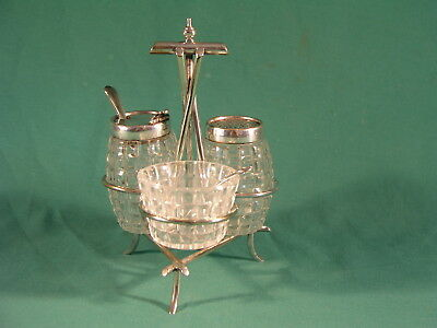 Art Deco Silver Plated Condiment Set Christopher Dresser Style , Cut Glass