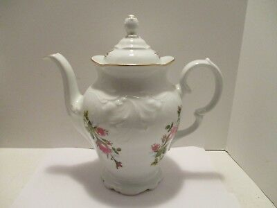 Coffee Pot Royal Kent Rose Flower Porcelain Covered RK Poland