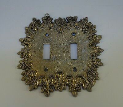 Vintage brass double toggle light switch cover plate