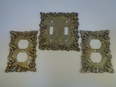 Vintage brass double light switch cover plate and two outlet covers