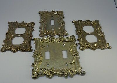 Vintage brass two outlet covers and two light switch covers