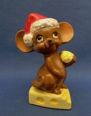 Vintage Hand Painted Josef Originals Holiday Mouse With Cheese Figurine - Japan
