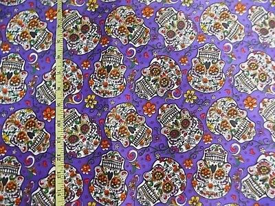 "Mexican Sugar Skull Day of the Dead Purple Poly Fabric 59"" Wide  By 1/2 yard"