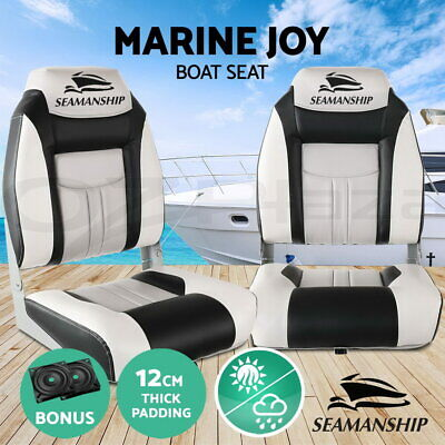 2X Folding Boat Seats Seat Marine Seating Set All Weather Swivels GR