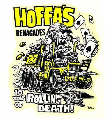 """ED /""""BIG DADDY/"""" ROTH IRON COFFIN 52 TONS OF ROLLING DEATH DECAL STICKER 1967"""