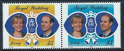 1999 Jersey Prince Edward & Sophie Royal Wedding Set Of 2 Fine Mint Mnh
