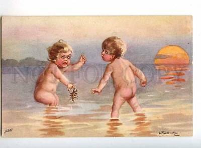 240400 Kids w/ crayfish by FIALKOWSKA Vintage postcard