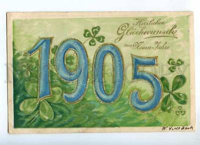 240935 NEW YEAR 1905 in Clover DATE Vintage EMBOSSED postcard