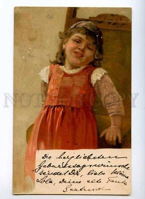 245414 Charming Girl Vintage LITHO Post 1901 year PC