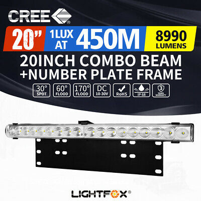 20inch CREE LED Light Bar +Number Plate Frame Offroad 4WD Car Truck Universal
