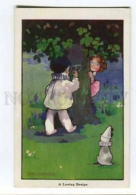 257087 PIERROT drawing on Tree by Agnes RICHARDSON Vintage PC