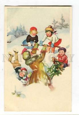 261917 SANTA CLAUS & kids play in Snow Vintage Colorful PC