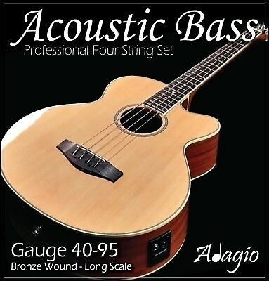 ACOUSTIC BASS Guitar Strings - Complete 4 String Set - Adagio Phosphor Bronze