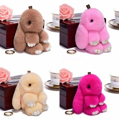 Rabbit Keychain Cute Fluffy Bunny Keychain Faux Rabbit Fur Pompom Key Ring TU