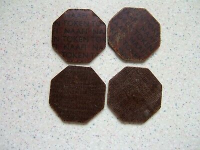 Four  Gb British Armed Forces.. Naafi.. 1/2 Franc Tokens.....................pb