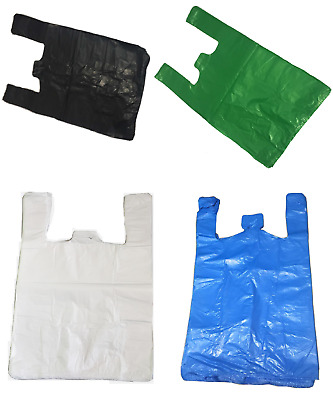 85 Vest Plastic Carrier Bags White Blue Black Green Small Medium Large XXL