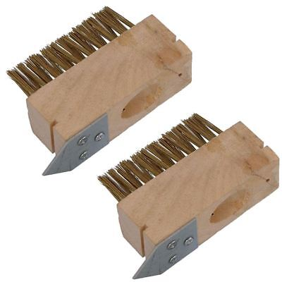 2 X Patio Drive Block Paving Wire Head Brush Metal Rake Out Spike Grout