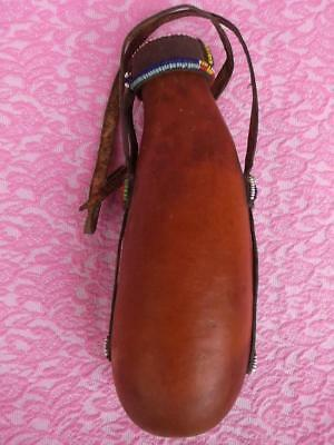 109 / Early To Mid 20Th Century Kamba Gourd With Bead Work And Hide Lid / Strap