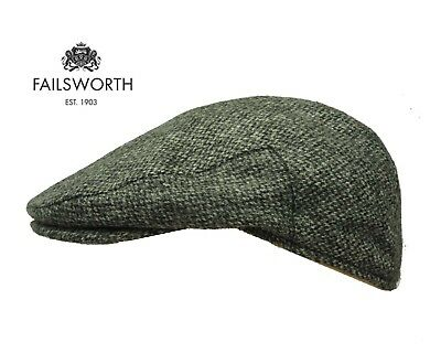 Failsworth English Tweed Flat Cap - Abraham Moon Tweed Grey Barley Corn 56-63cm
