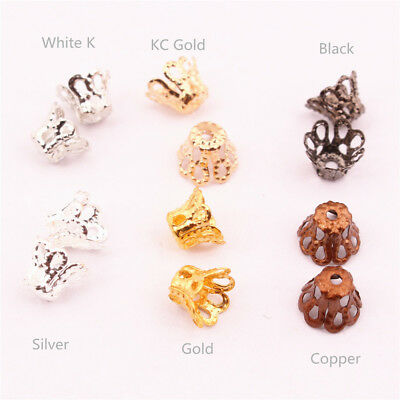 100PCS 6mm/8mm Spacer Cup Bead Caps Hats Brass Silver Gold DIY Jewelry 3006