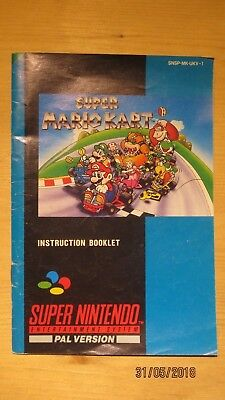 Super Mario Kart SNES Instruction Manual Booklet
