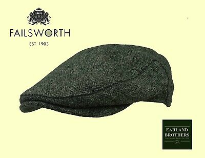 Failsworth English Tweed Flat Cap Abraham Moon Merino Wool Grey Herringbon S-XXL