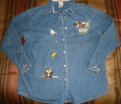 "Warner Bros. TAZ, ""THE HONEYMOON IS OVER!"" Tasmanian She-Devil Denim Shirt"