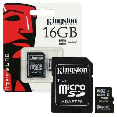 16GB Kingston Micro SD Micro SDHC Memory Card Class 4 with Full Size SD Adapter