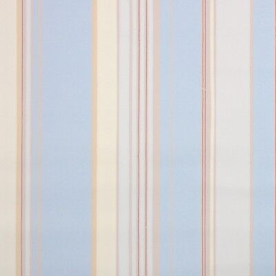 1940s Stripe Vintage Wallpaper Blue Beige Cream And Red