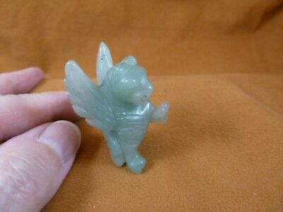 (Y-GRI-554) Green GRIFFIN gryphon gemstone carving figurine statue Eagle Lion