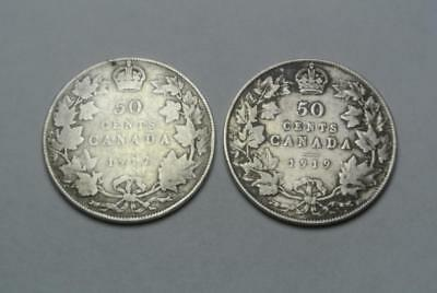 1917 & 1919 Canada 50, Fifty Cent Coins, VG Condition - C5921
