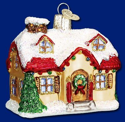 Old World Christmas Holiday Home Building Glass Ornament 20032 FREE BOX New
