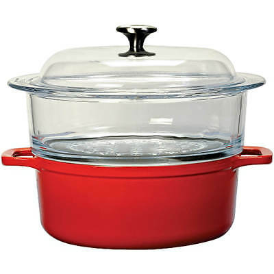 Chasseur Cast Iron 2 Piece Steamer With Glass Top, 4 Qt Red A1746224